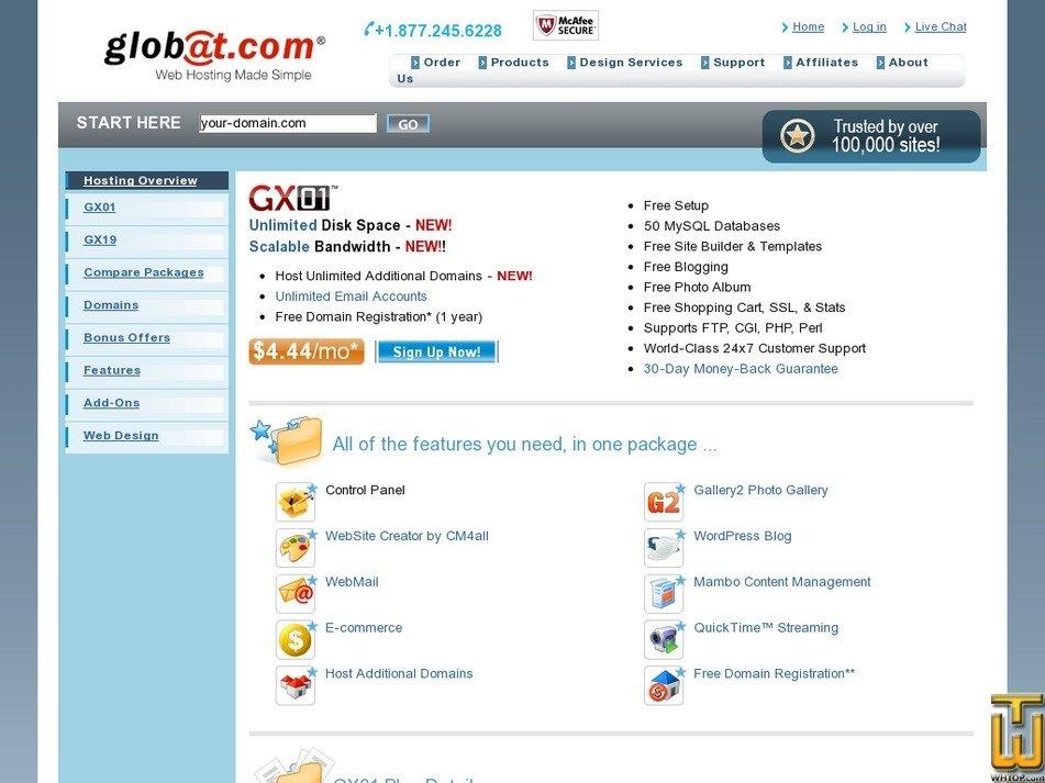 Screenshot of GX01 from globat.com