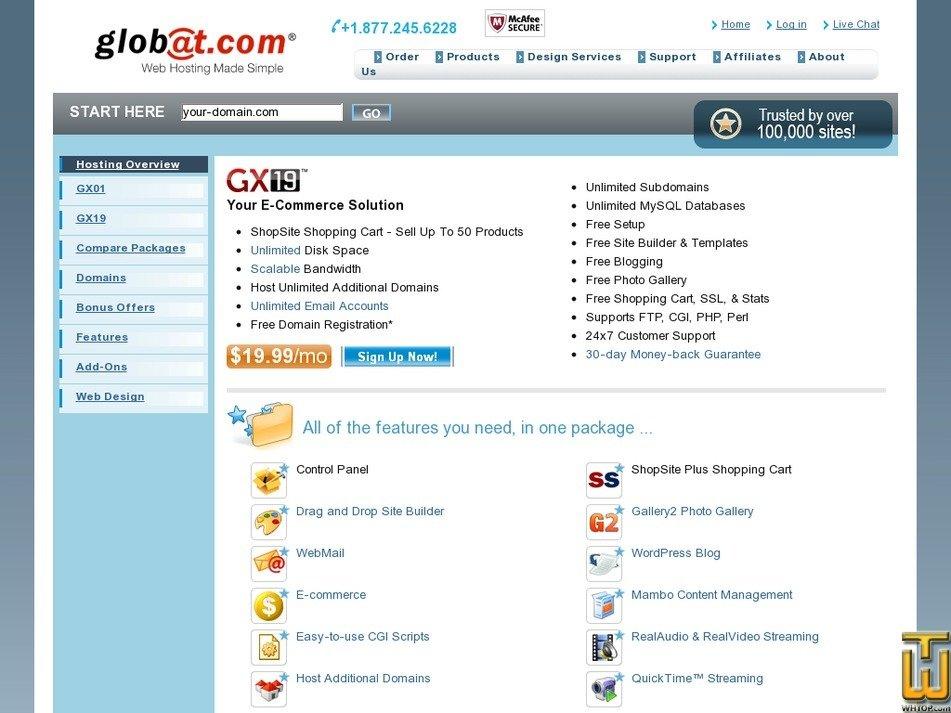 Screenshot of GX19 from globat.com