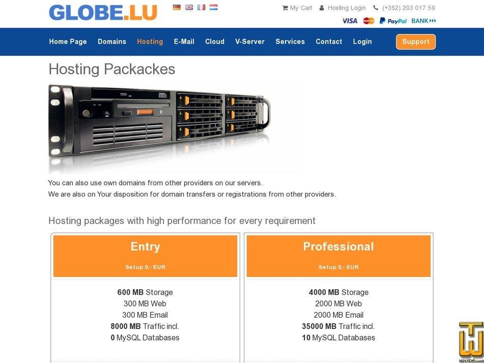 screenshot of Start Web 1000 MB from globe.lu