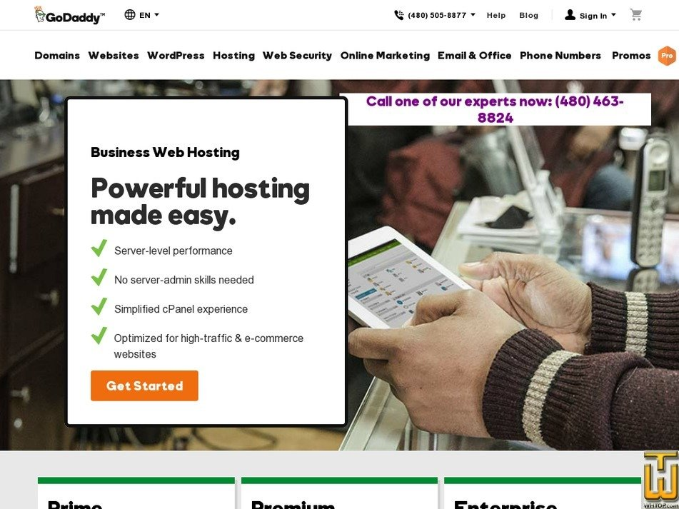 Screenshot of Premium from godaddy.com