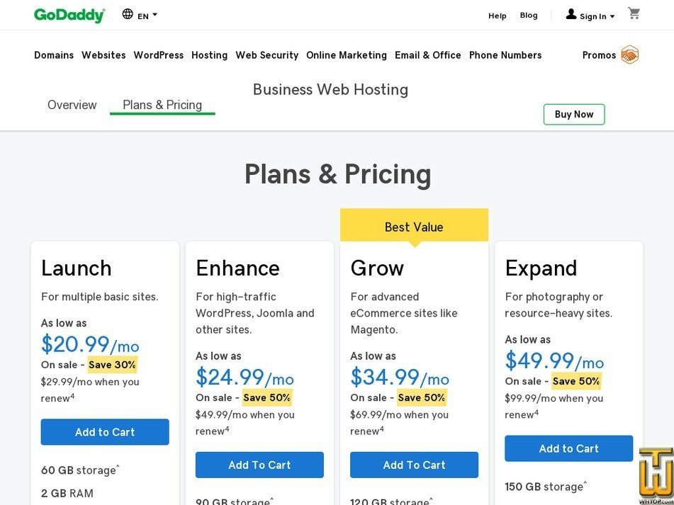 Screenshot of Expand from godaddy.com