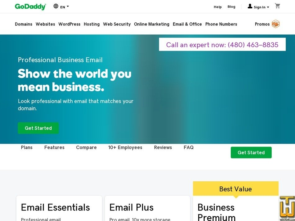 Screenshot of Email Essentials from godaddy.com