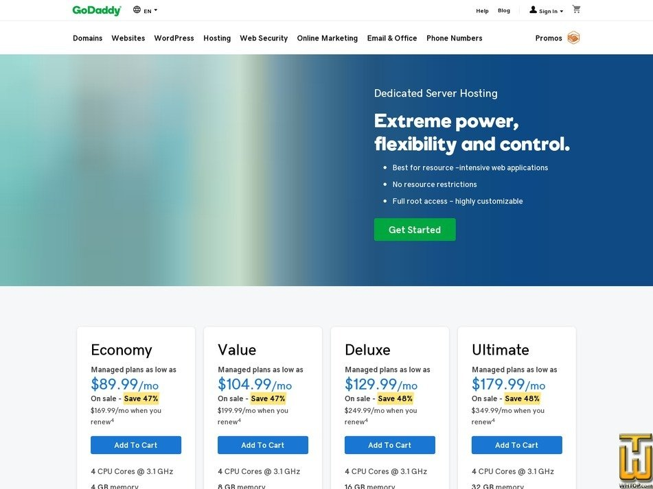 Screenshot of Economy from godaddy.com