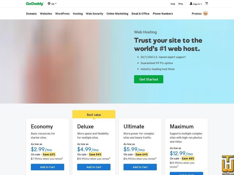 screenshot of Economy from godaddy.com