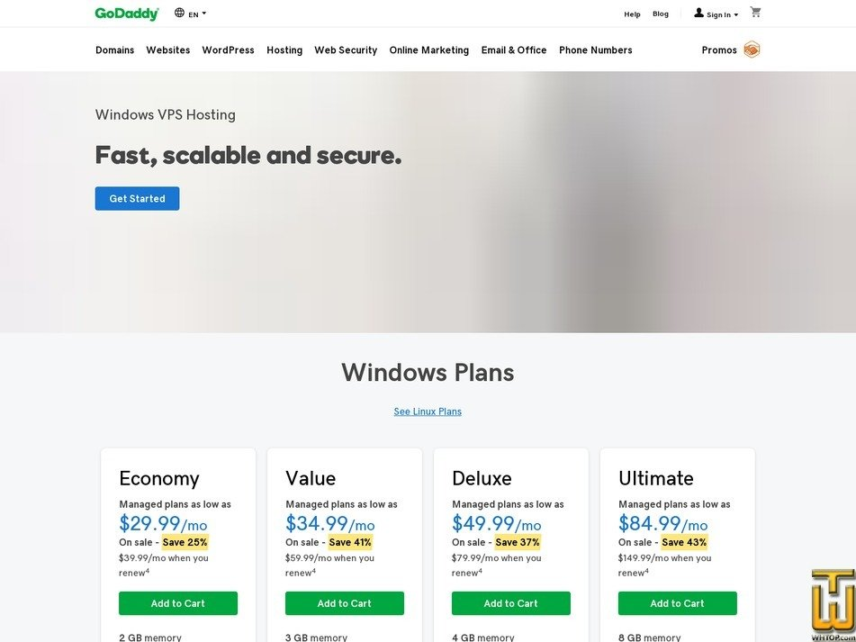 screenshot of Deluxe from godaddy.com
