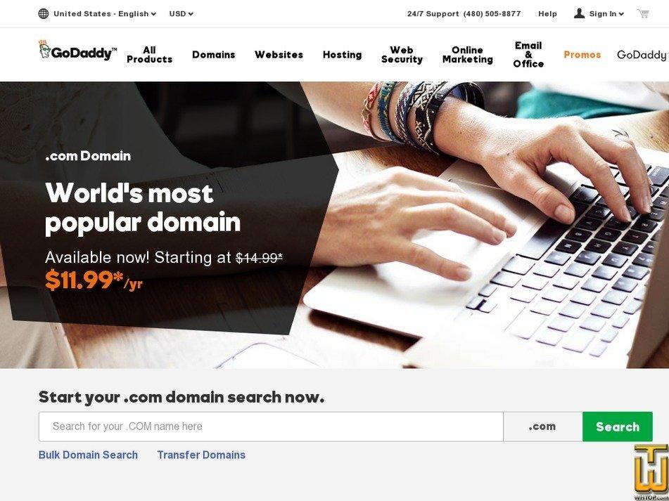 Screenshot of .com from godaddy.com