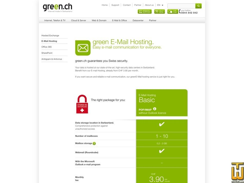 captura de pantalla de E-Mail Hosting Basic desde green.ch