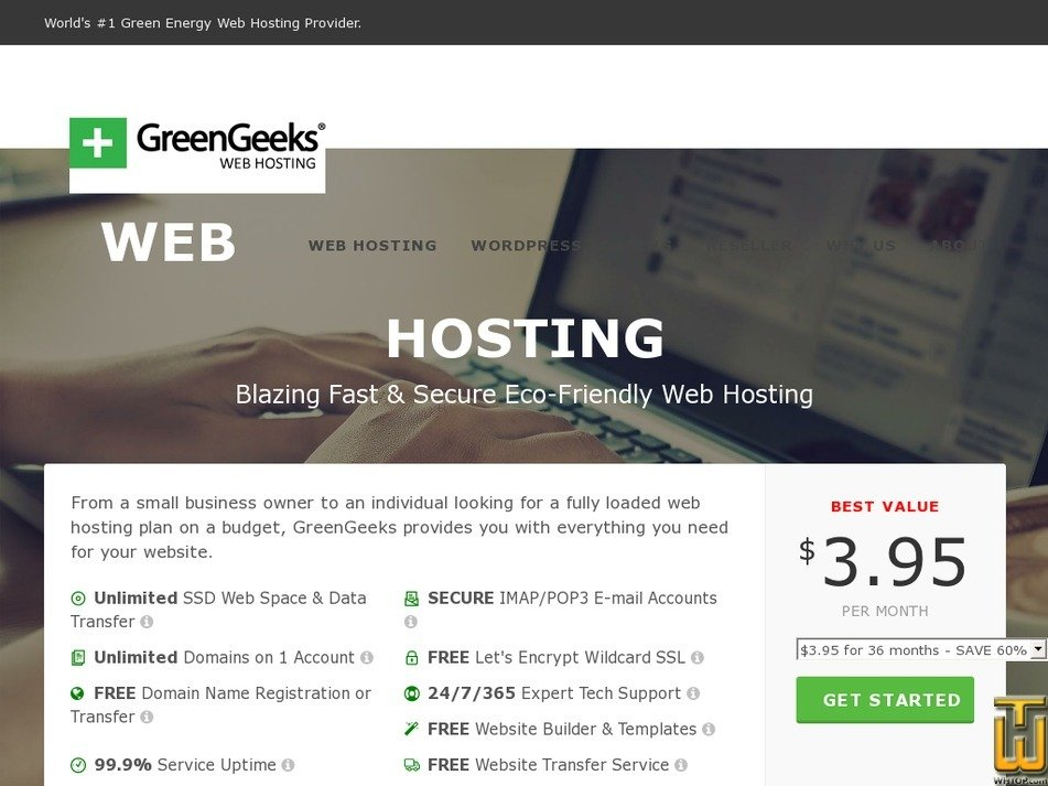 Screenshot of WordPress Hosting from greengeeks.com