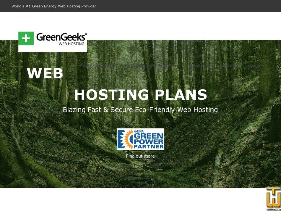Screenshot of EcoSite + Wordpress from greengeeks.com