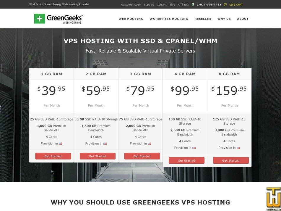 screenshot of 3 GB from greengeeks.com