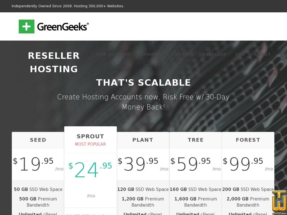 Screenshot of Seed from greengeeks.com