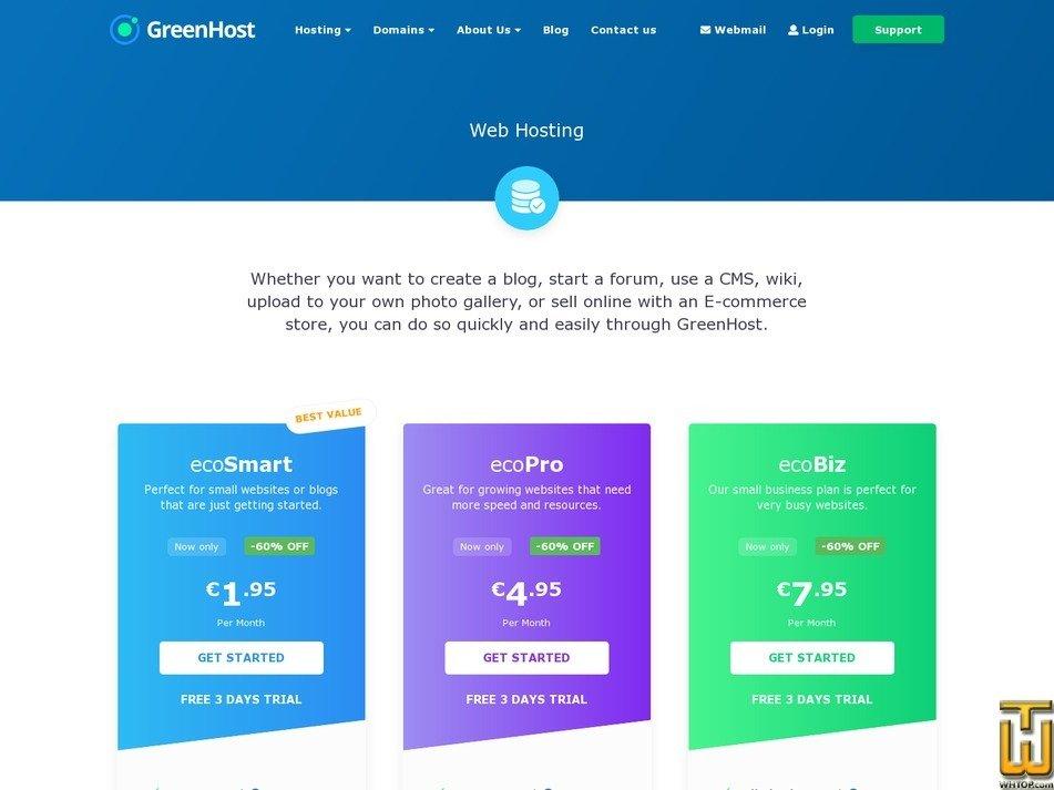 screenshot of ecoSmart from greenhost.eu