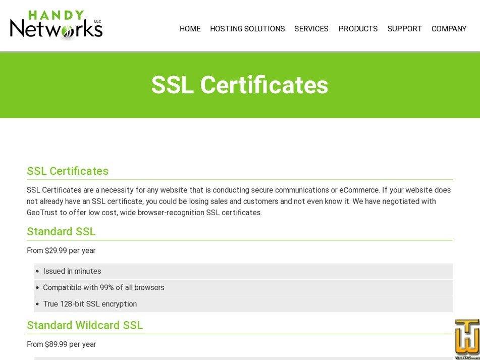 Standard Wildcard Ssl From Handynetworks 42317