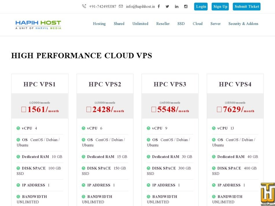 Screenshot of HPC VPS4 from hapihhost.in