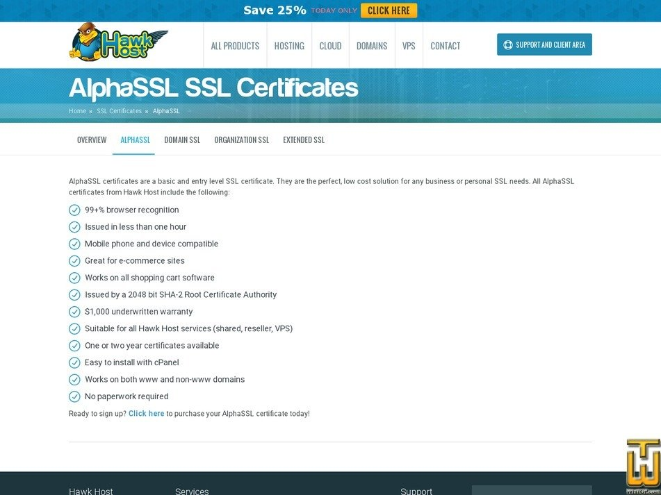 screenshot of AlphaSSL from hawkhost.com