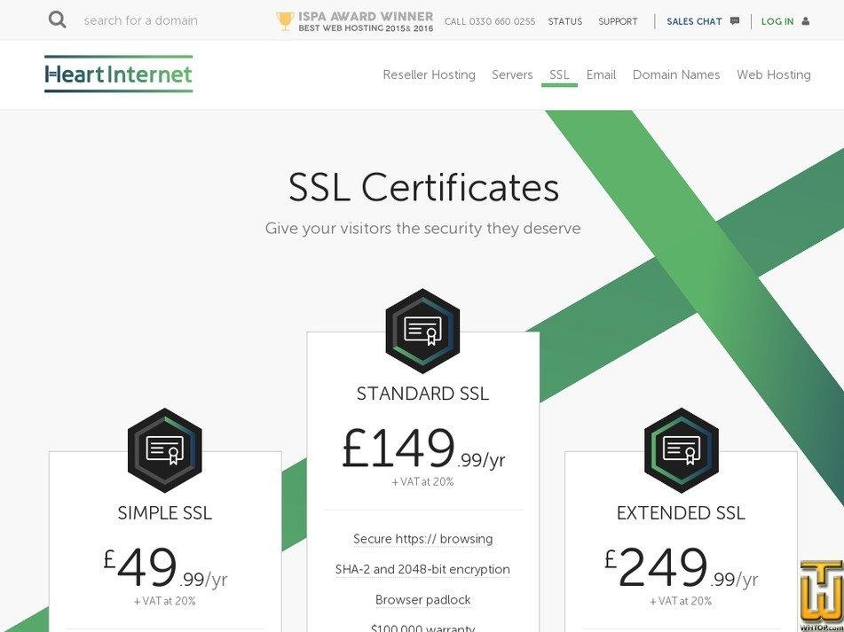 Standard Ssl From Heartinternet 64020 On Ssl Certificates
