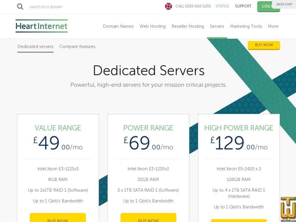 Screenshot of Value Range from heartinternet.uk