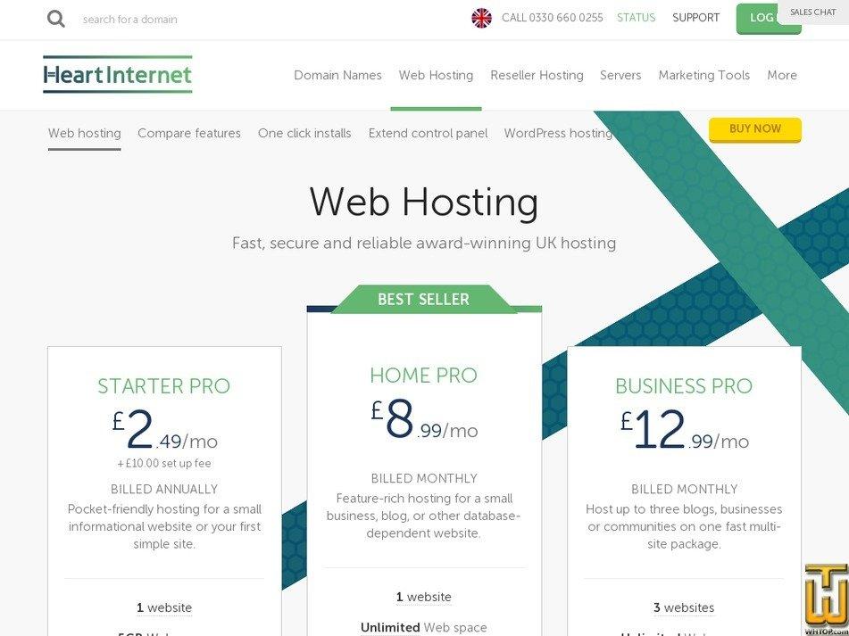 Screenshot of Starter Pro from heartinternet.uk