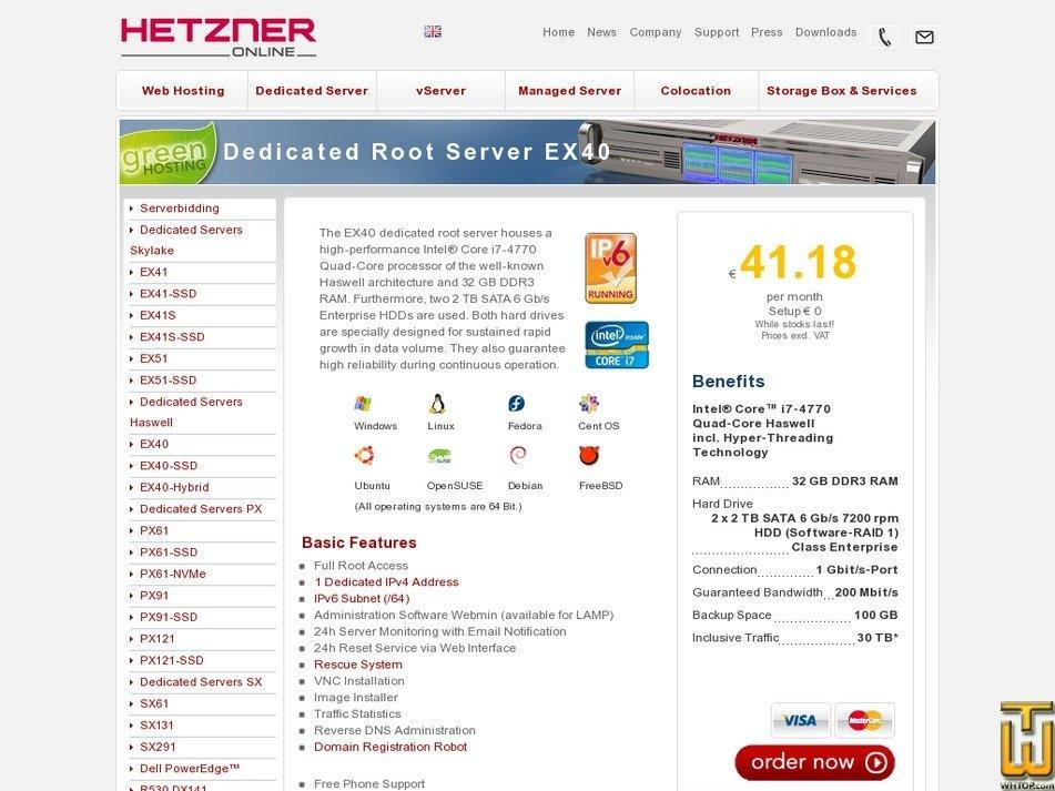 Screenshot of Root Server EX40 from hetzner.de
