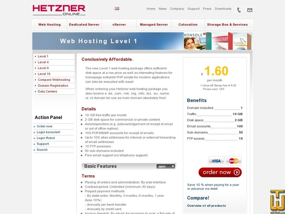 Screenshot of Level 1 from hetzner.de