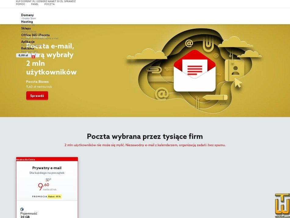 screenshot of Poczta Biznes from home.pl