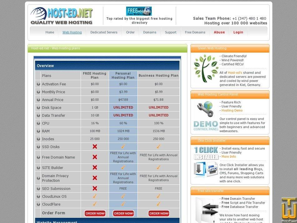 screenshot of Free Hosting Plan from host-ed.net