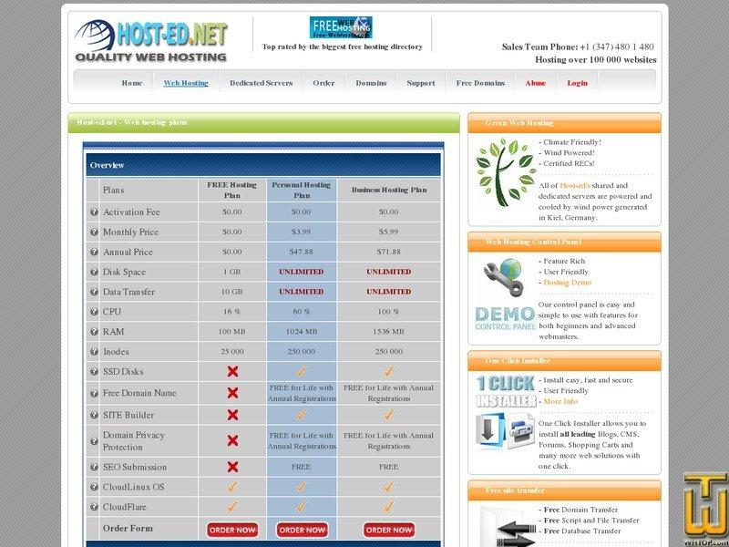 Screenshot of Personal Hosting Plan from host-ed.net