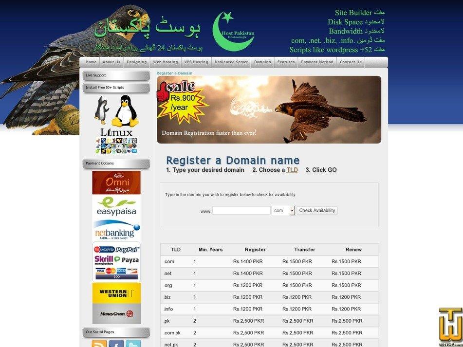 screenshot of .com .net .org from host.com.pk