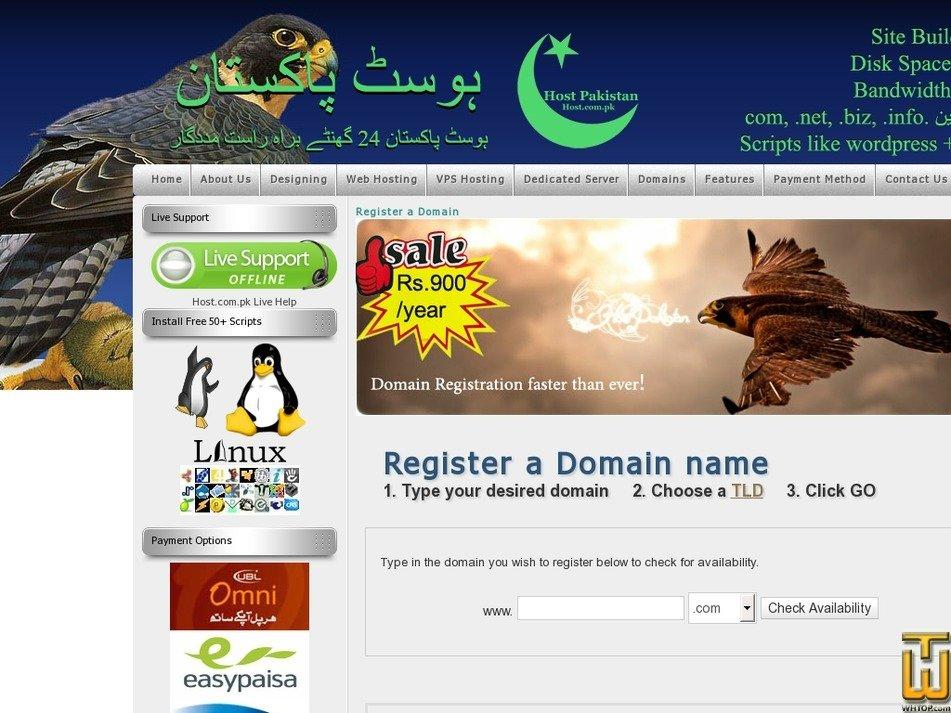 Screenshot of .com .net .org .biz .info from host.com.pk