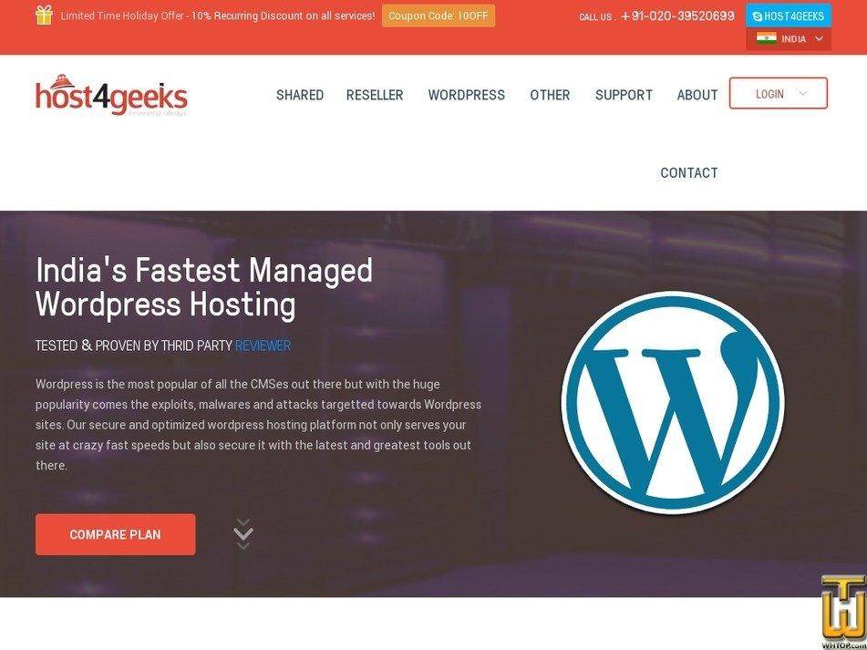 Screenshot of Managed Wordpress Hosting BASIC from host4geeks.com