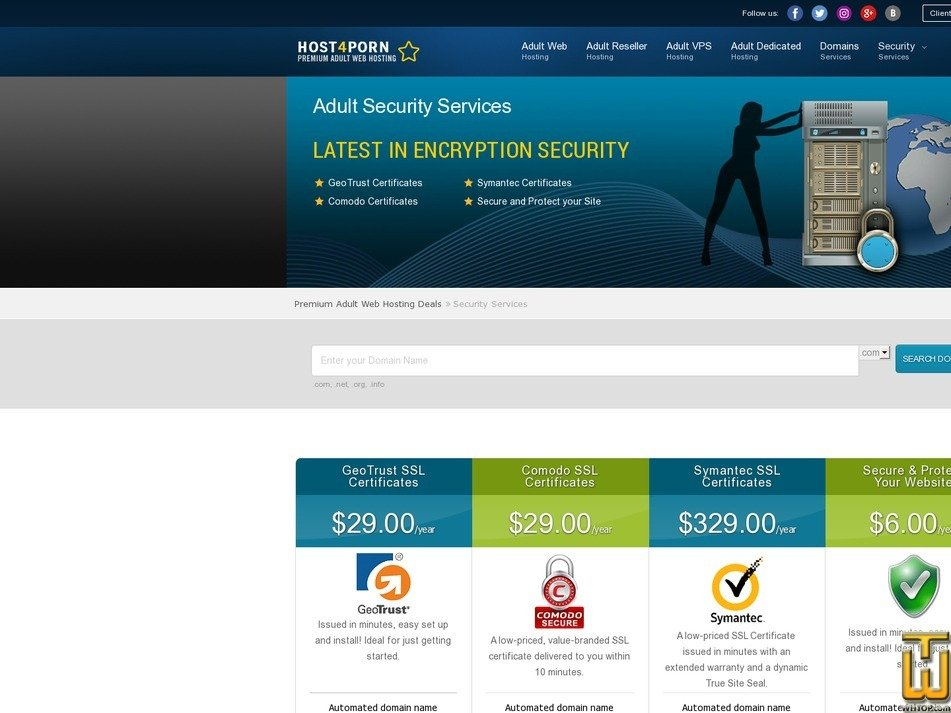 screenshot of GeoTrust SSL Certificates from host4porn.com