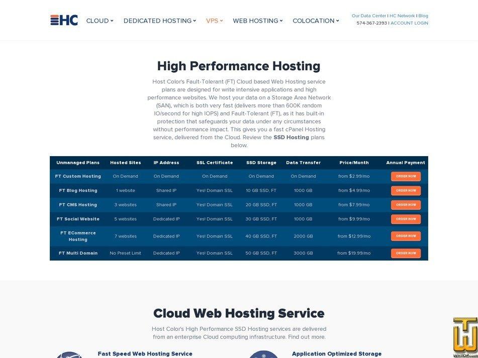 screenshot of FT Blog Hosting from hostcolor.com