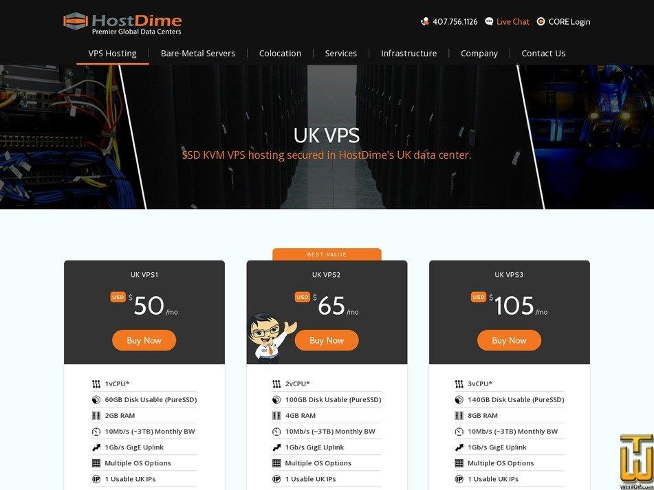 Screenshot of UK VPS1 from hostdime.com