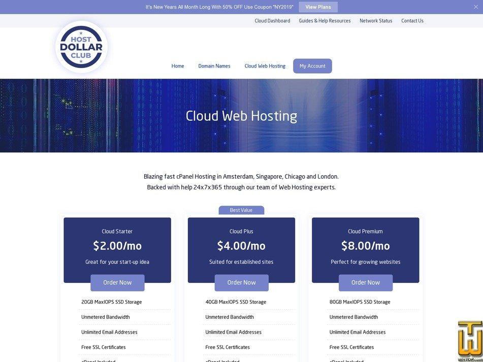 Screenshot of Cloud Starter from hostdollarclub.com