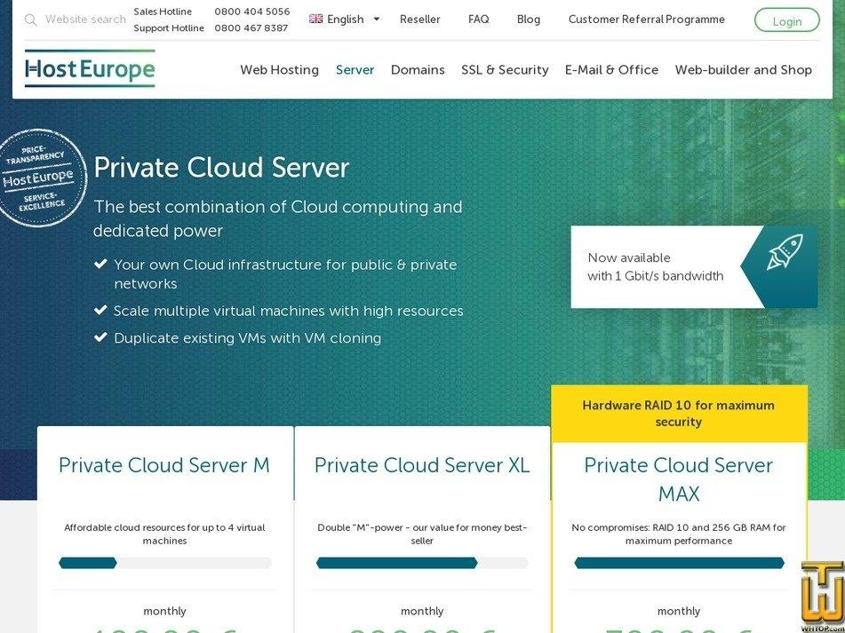 Screenshot of Private Cloud Server XL from hosteurope.de