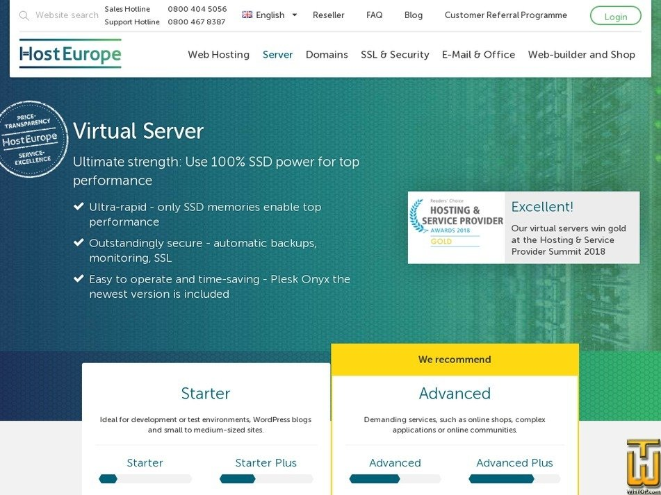 Screenshot of Enterprise from hosteurope.de