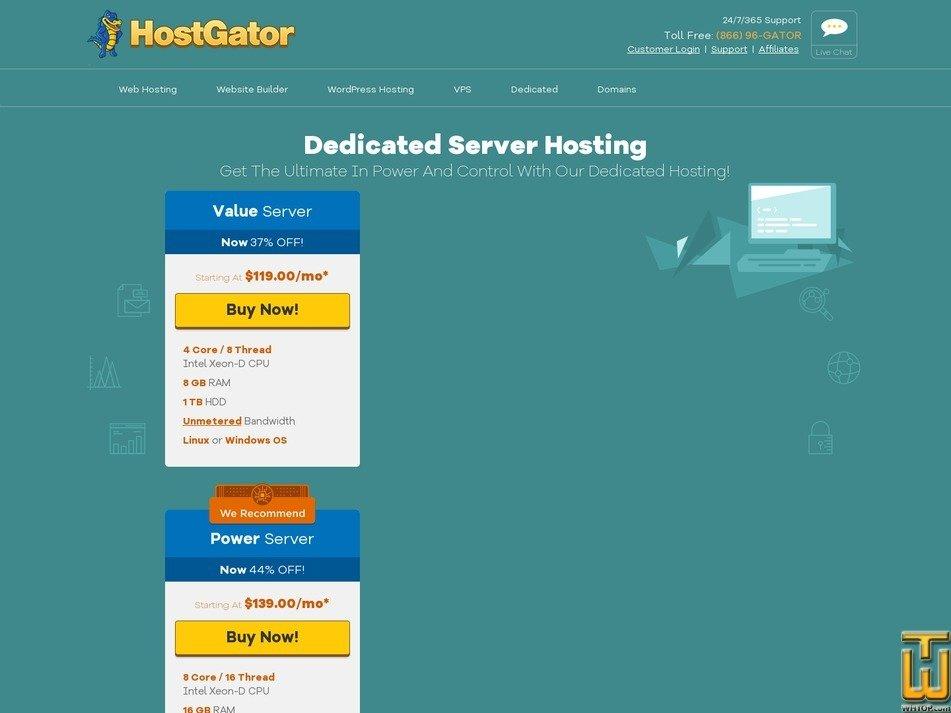 screenshot di Enterprise a partire dal hostgator.com