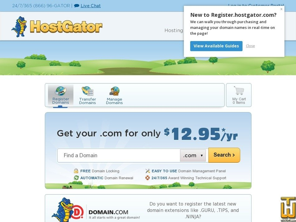 Screenshot of .com .biz .co .info .net .org from hostgator.com