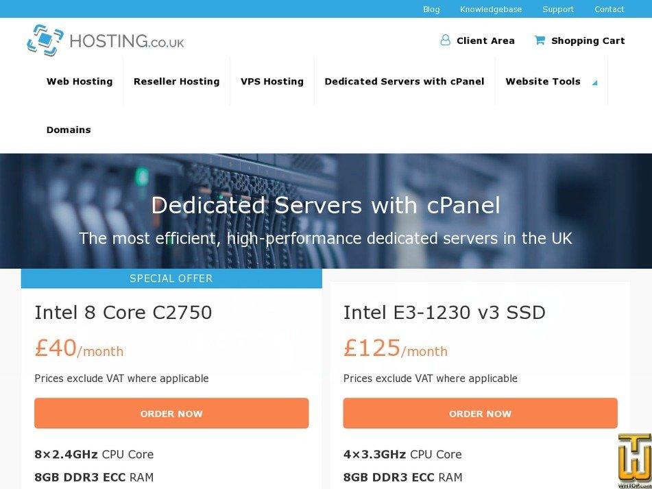 Screenshot of Intel 8 Core C2750 from hosting.co.uk
