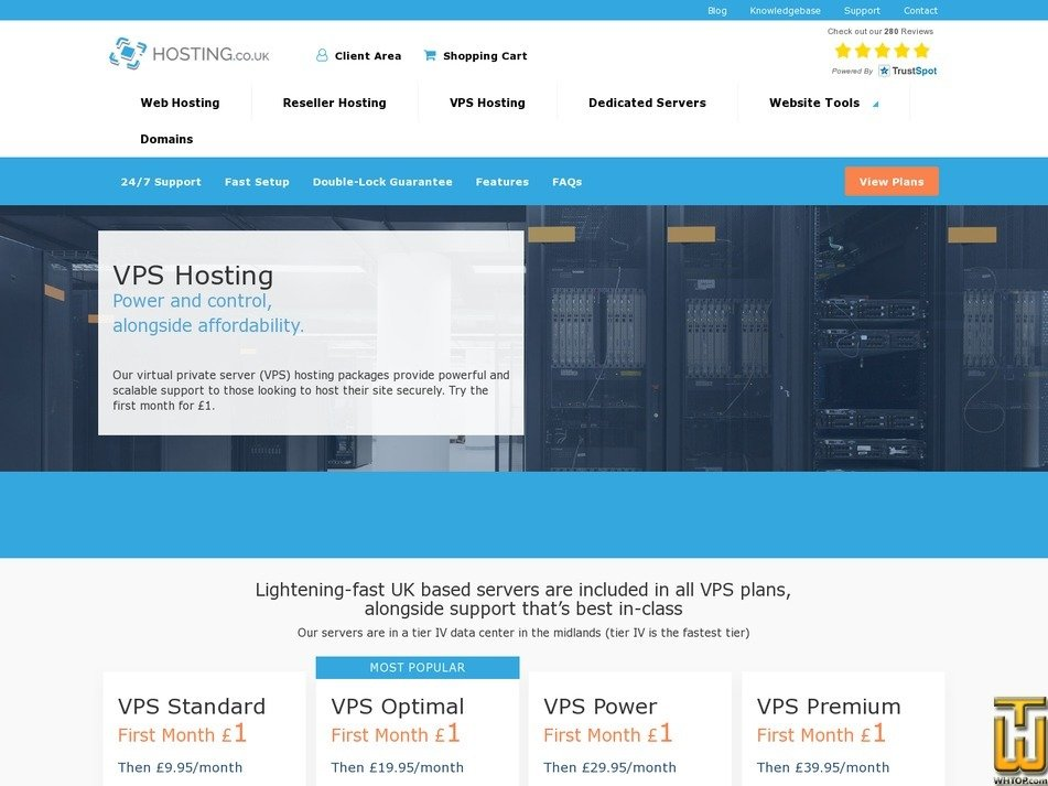 Screenshot of VPS Premium from hosting.co.uk