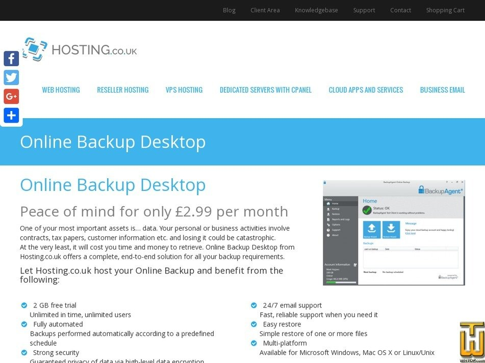 Screenshot of ONLINE BACKUP 2GB from hosting.co.uk