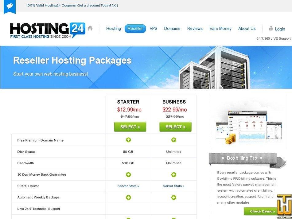 Screenshot of Starter from hosting24.com