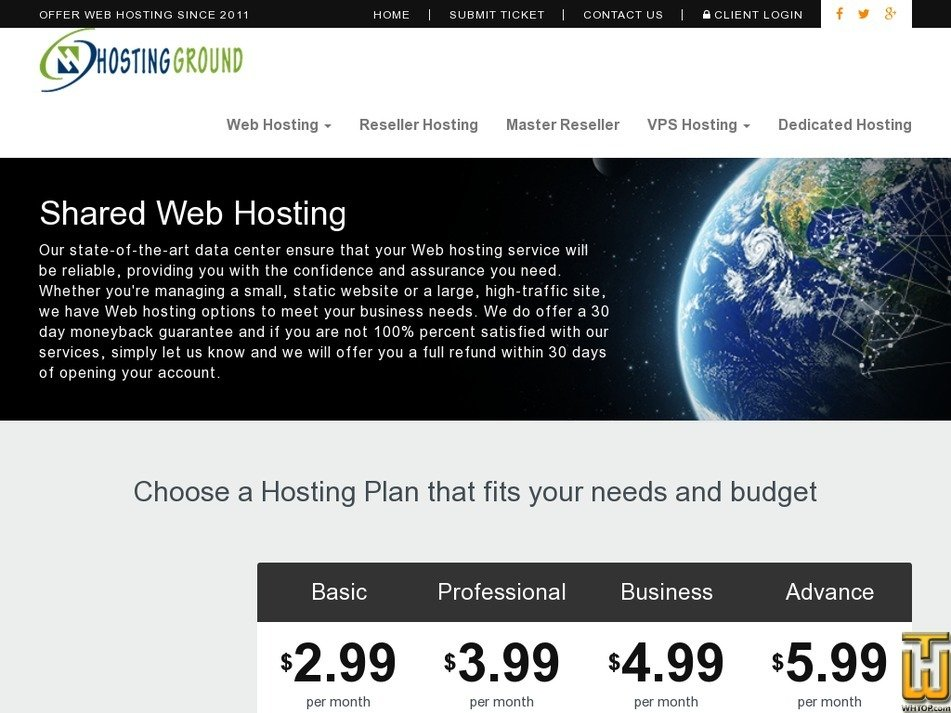 Screenshot of Basic from hostingground.com