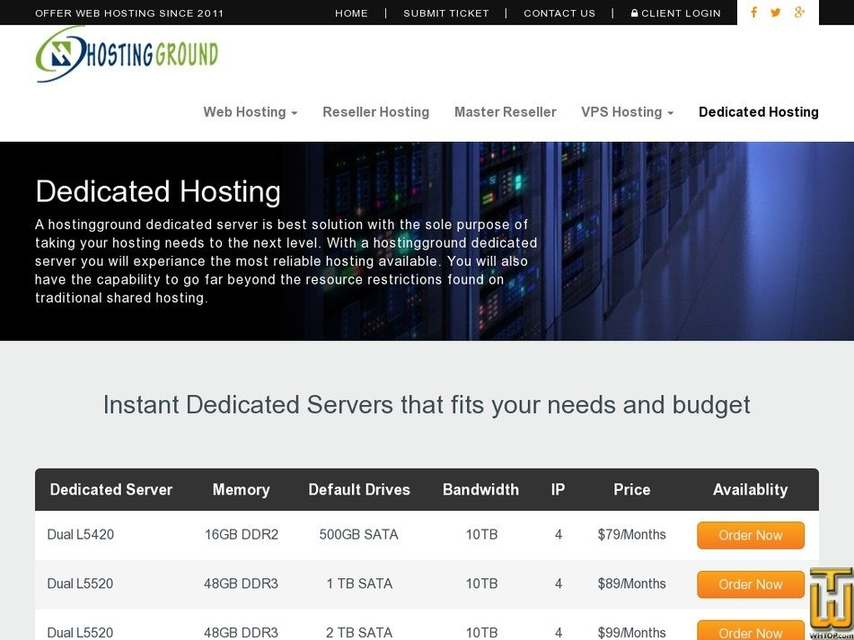 Screenshot of Dual L5420-16GB-1x500GB from hostingground.com