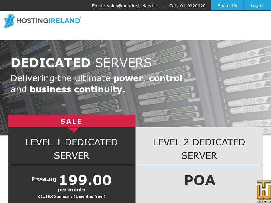 screenshot of Level 2 Dedicated Server from hostingireland.ie