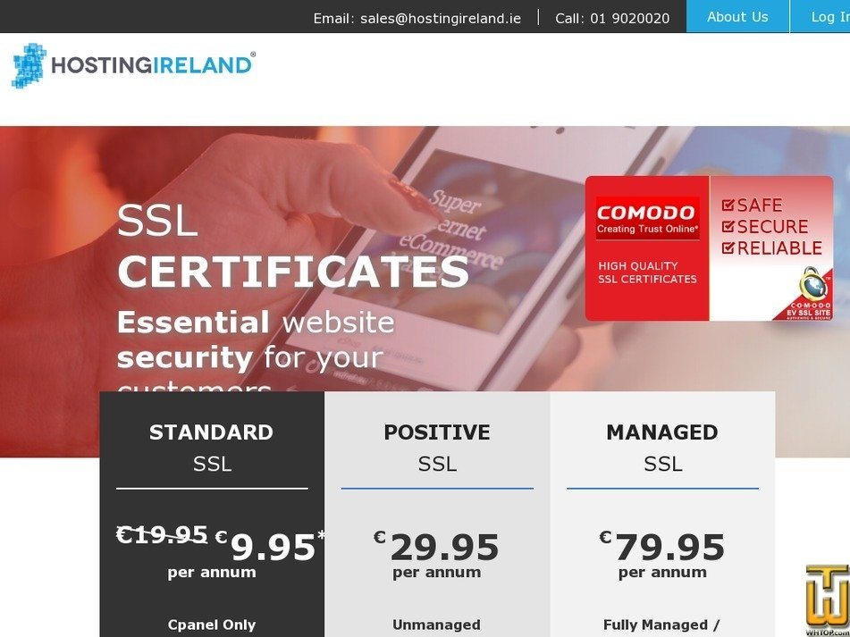 Screenshot of Managed SSL from hostingireland.ie