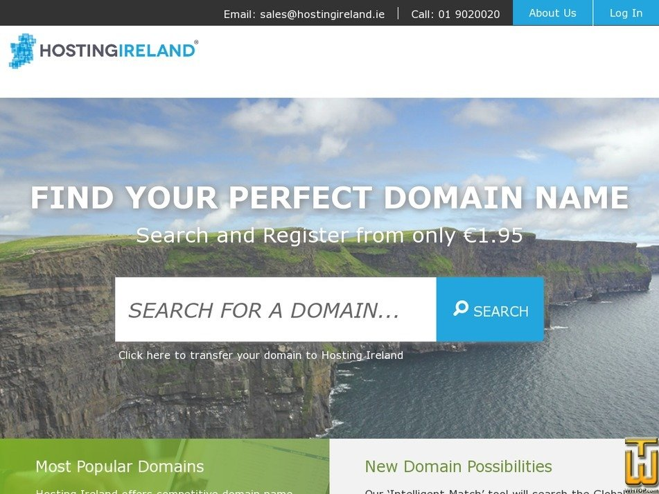 Screenshot of .com from hostingireland.ie