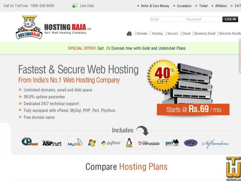 Screenshot of Starter Plan from hostingraja.in