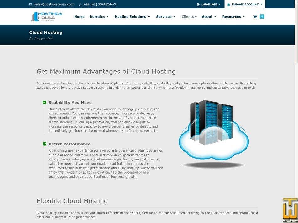 screenshot of Plan-1 from hostingshouse.com