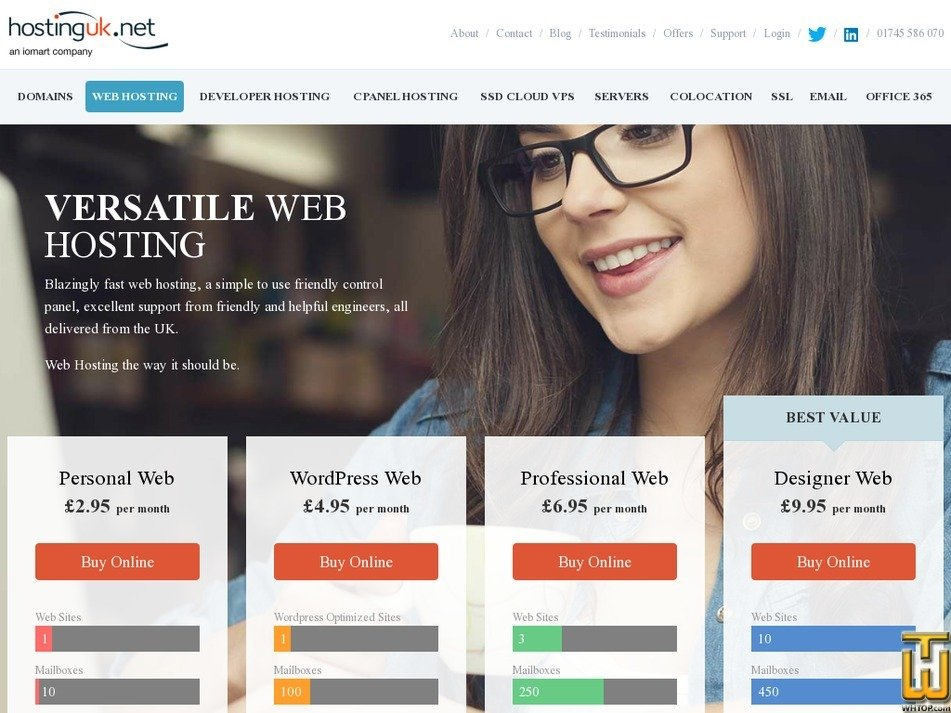 Screenshot of WordPress Web from hostinguk.net